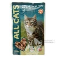 All Cats Complete cat food for all breeds with Chicken Влажный корм для кошек, с курицей, 100 г