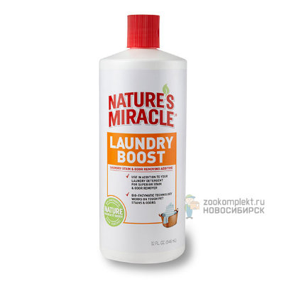 8 in 1 Nature's Miracle Laundry Boost Уничтожитель запахов и пятен животных, для стирки, 946 мл