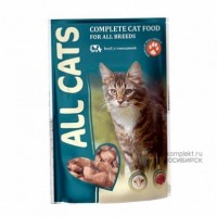 All Cats Complete cat food for all breeds with Beef Влажный корм для кошек, говядина в соусе, 85 г